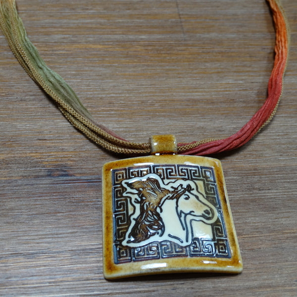 Ceramic Horse Pendant on Silk Ribbon