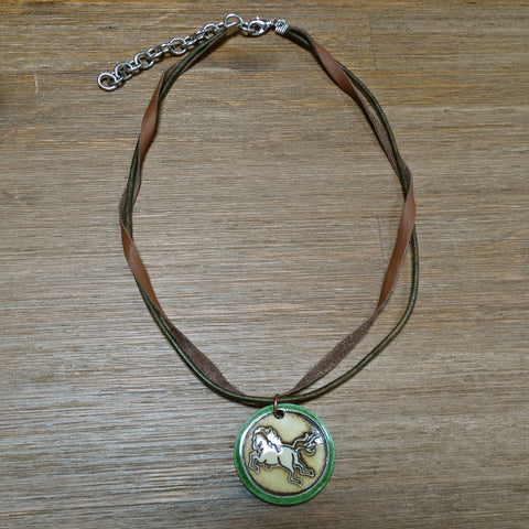 Ceramic Horse Pendant on Double Leather Strand