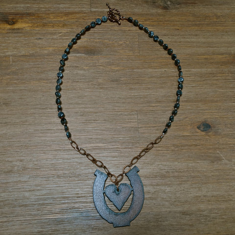 Iron Heart in Horseshoe Pendant with Black Labradorite Beads