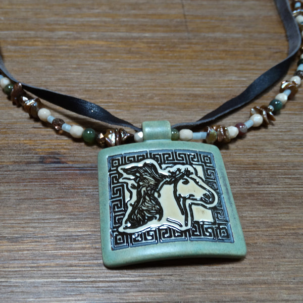 2 Strand Ceramic Horse Necklace