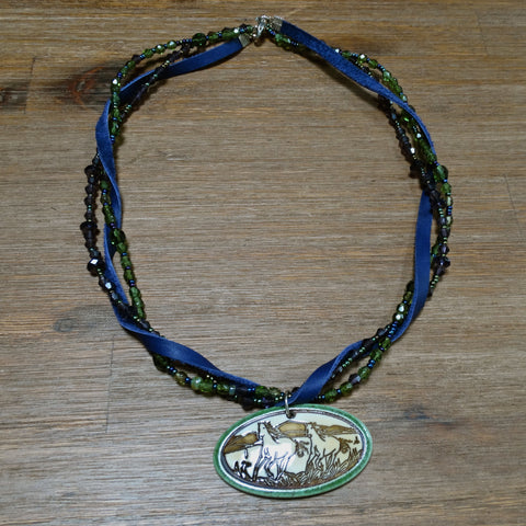 Ceramic Horse Pendant 3 Strand Necklace