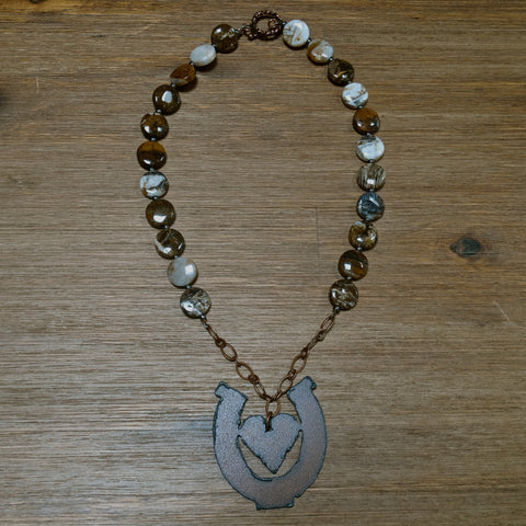 Iron Heart in Horseshoe Pendant with Brioche Agate