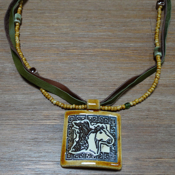 3 Strand Ceramic Horse Pendant Necklace