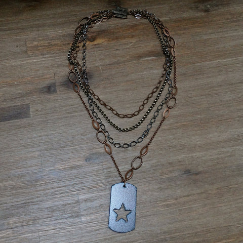 4 Strand Chain and Iron Star Pendant Necklace