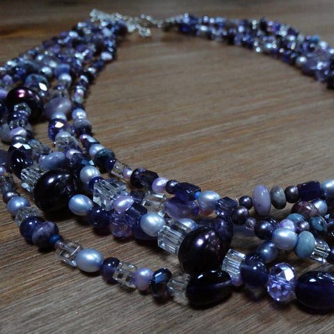 5 Strand Purple Gemstone and Pearl Necklace