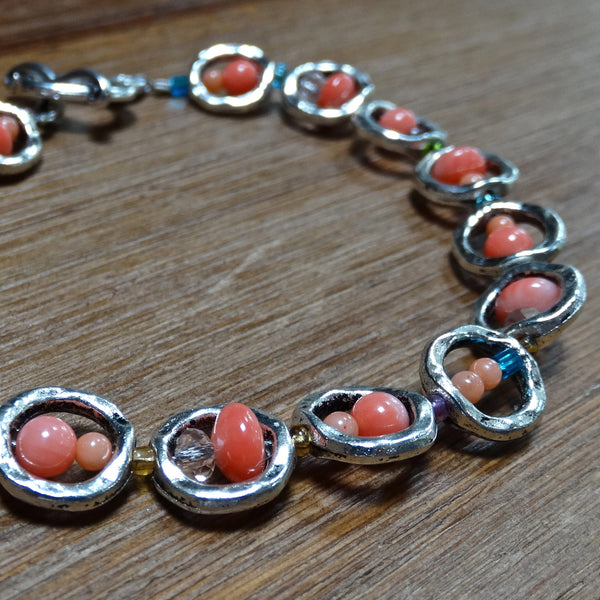 Coral and Silver Framed Bead Bracelet