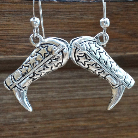 Silver-Plated Cowgirl Boot Earrings