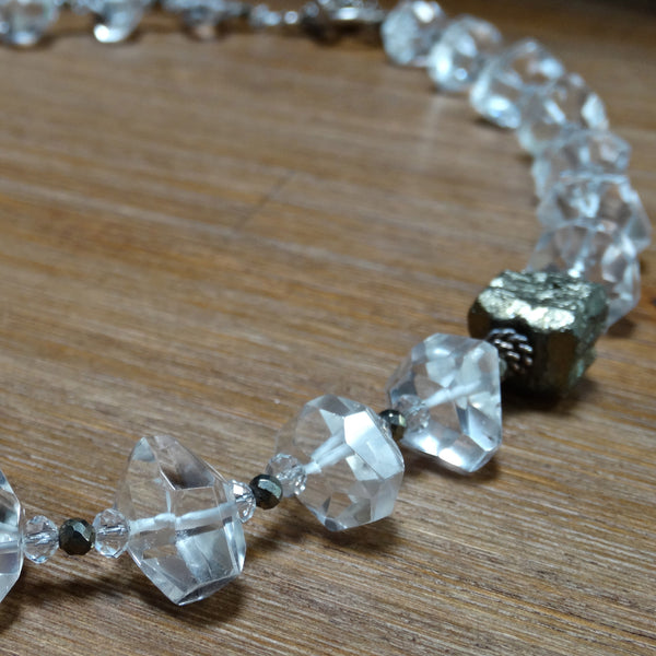 Faceted Crystal Quartz Nuggets with Pyrite Accents