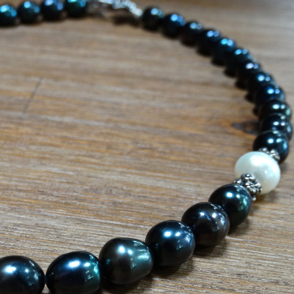 Navy Freshwater Pearls with Offset White Pearl Accent