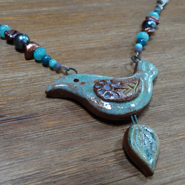 Ceramic Bird Pendant with Gemstone, Pearls and Chain