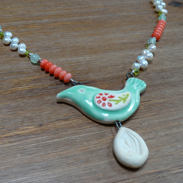 Ceramic Bird Pendant with Freshwater Pearls, Aventurine and Coral