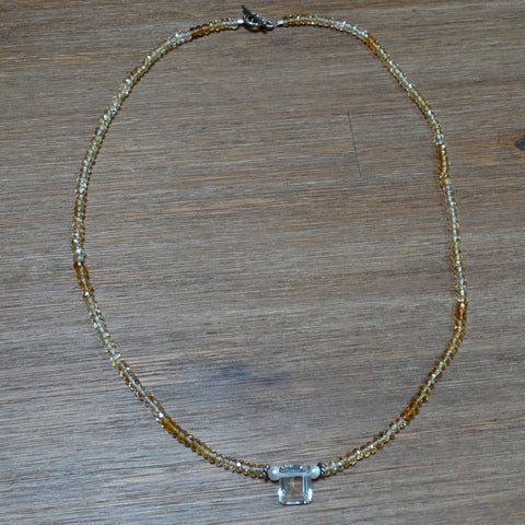 Citrine Faceted Roundelles with Bezel Quartz Focal