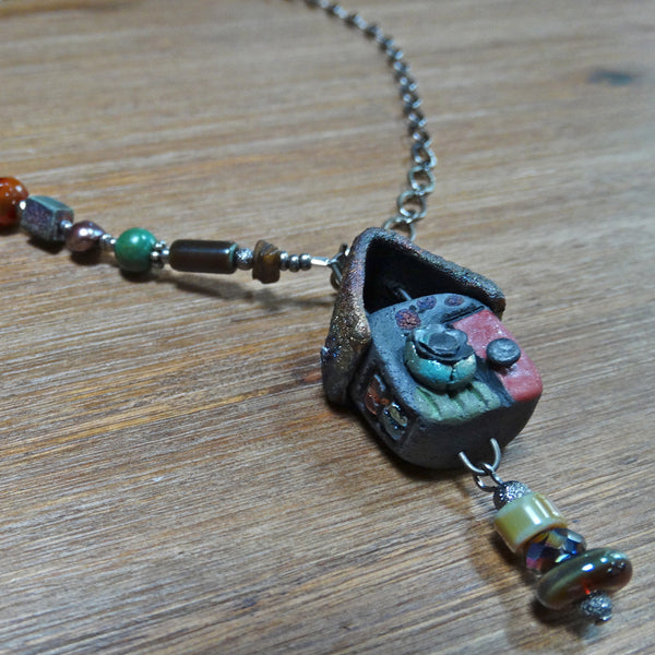 Raku House Pendant with Asymmetrical Beads