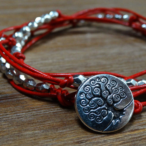 Red Leather with Faceted Metal Beads Wrap Bracelet