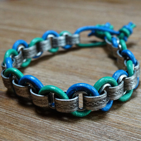 Leather Wrapped Patterned Chain - Blue and Green