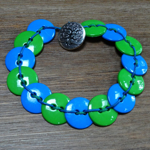 Blue and Green Button Bracelet