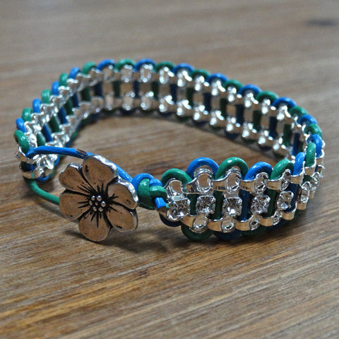 Rhinestone and Leather Bracelet - Blue and Green