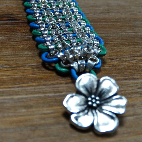 Wide Rhinestone and Leather Bracelet - Blue and Green