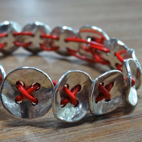 X's and O's Bracelet - Heartbeat Red