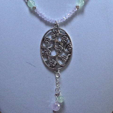 Cherry Blossom Pendant with Crystal and Chain