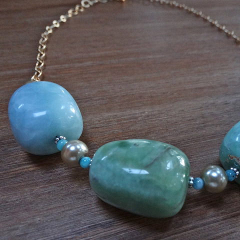 Amazonite Large Chunky Nugget Necklace