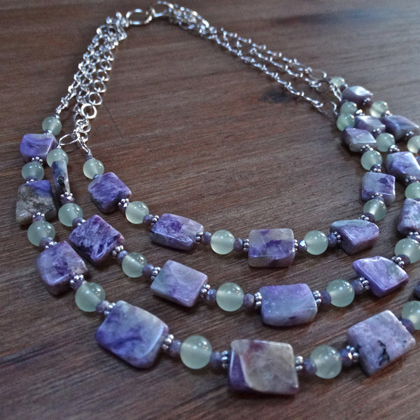 Charoite and Chrysophase 3 Strand Necklace