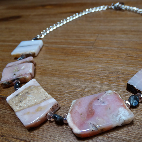 Pink Peruvian Opal Slab Necklace