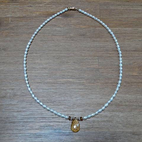 Citrine Faceted Drop with Freshwater Pearls