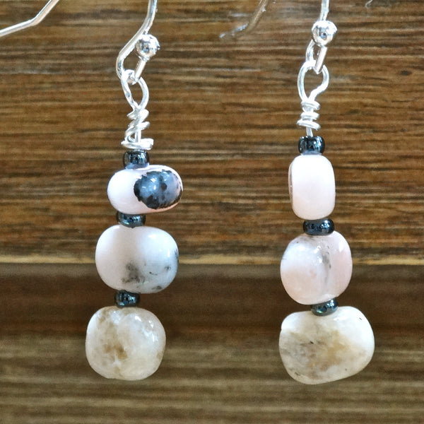 Pink Peruvian Opal Drop Earrings