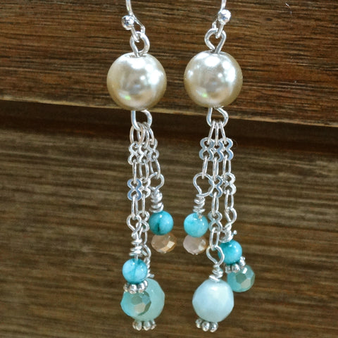 Amazonite and Glass Pearl Tassle Earrings