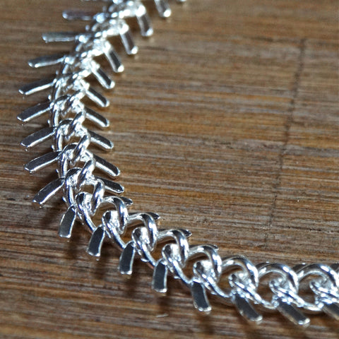 Fishbone Silver-Plated Chain Bracelet