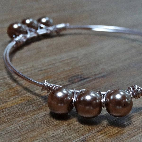 Rose-Gold Wire Bangle with Smoked Topaz Glass Pearls