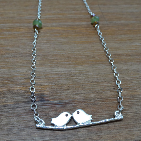Love Birds on a Branch Necklace
