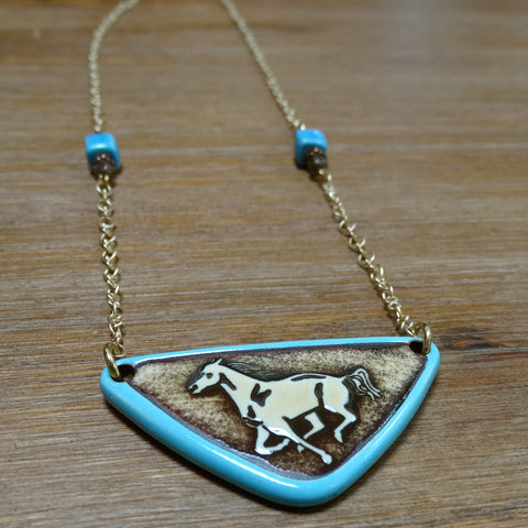 Simple Running Horse Aqua Necklace on Gold Chain