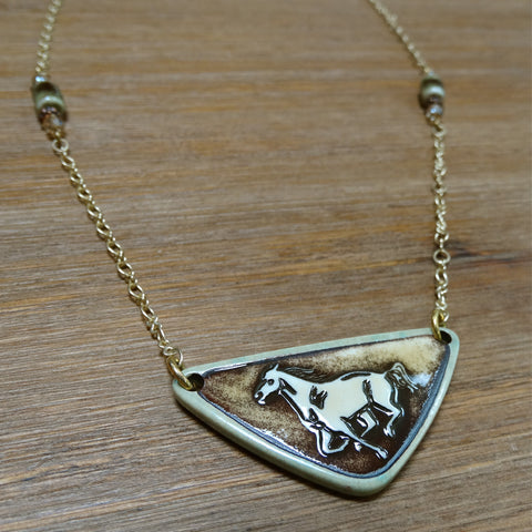 Simple Running Horse Necklace Sage on Gold Chain
