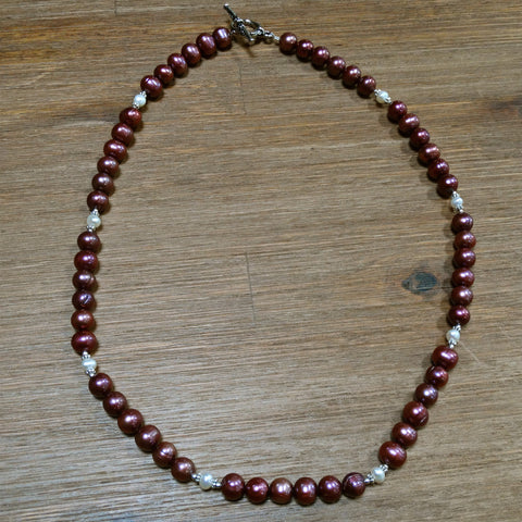 Deep Pink Freshwater Pearl Necklace