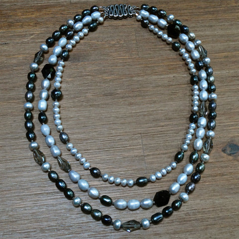 3 Strand Grey and White Pearl Necklace with Swarovski Crystals
