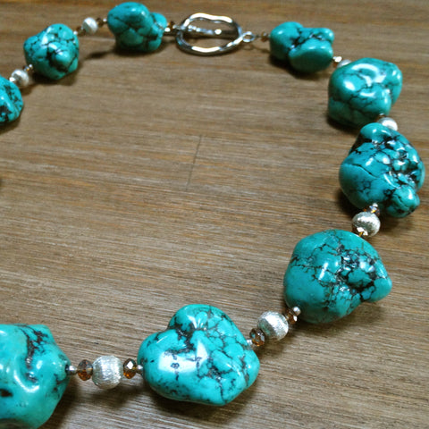 Chunky Turquoise Nugget Necklace