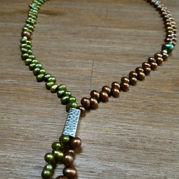 Freshwater Copper and Green Pearl Bolo Style Necklace