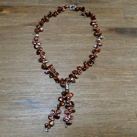 Copper Keishi Pearl Bolo Style Necklace
