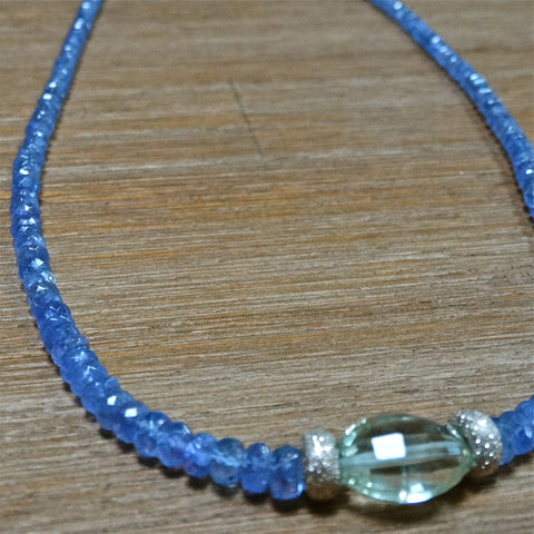 Tanzanite and Green Amethyst Necklace