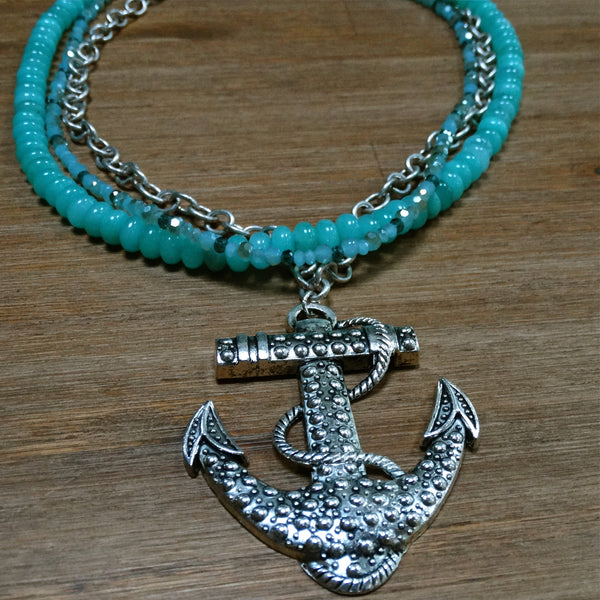 3 Strand Aqua Chalcedony and Crystal Necklace with Anchor Pendant