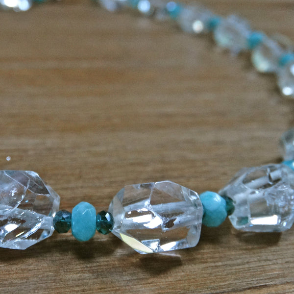 Crystal Quartz Faceted Nugget with Aqua Chalcedony and Crystals
