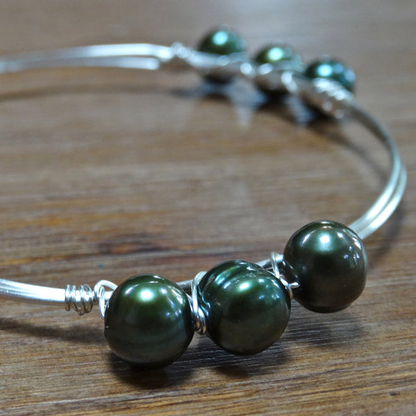 Silver Wire Bangle with Green Freshwater Pearls