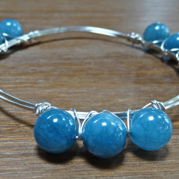 Silver Wire Bangle with Blue Chalcedony Rounds