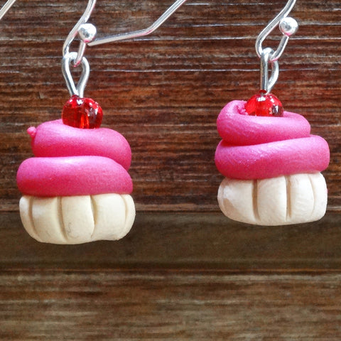 Cupcake Earrings Small Bright Pink