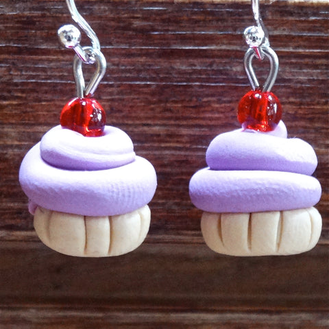 Cupcake Earrings Small Lavender
