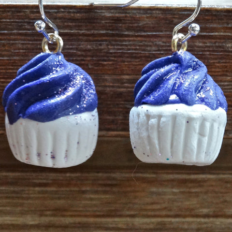 Cupcake Earrings Large Dark Purple