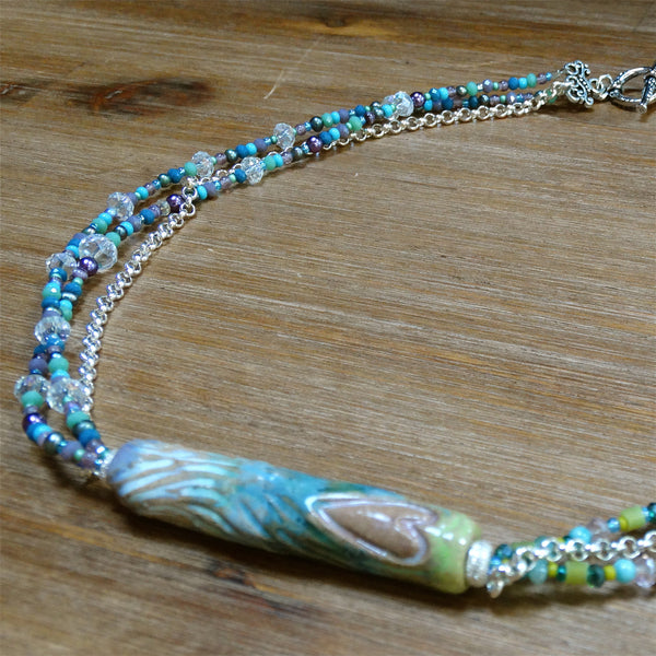 3 Strand Pastel Necklace with Heart Ceramic Focal