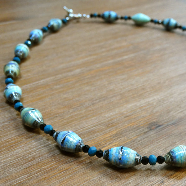 "Paper Bead 18"" Black and Blue Necklace"